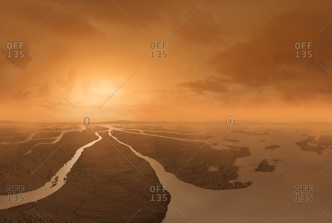 Artwork of River Delta on Titan