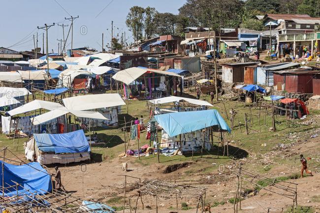 Yirgalem, Ethiopia, Africa - December 6, 2016: View of flea market