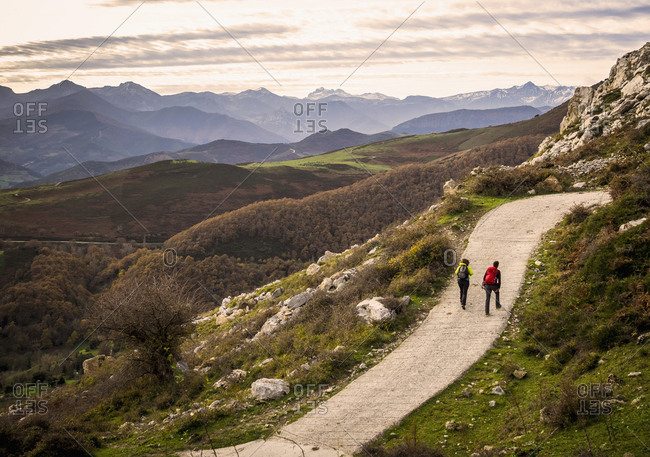 Women and Man on a hiking tour in the Picos de Europa near Potes. Cantabria, Northern Spain