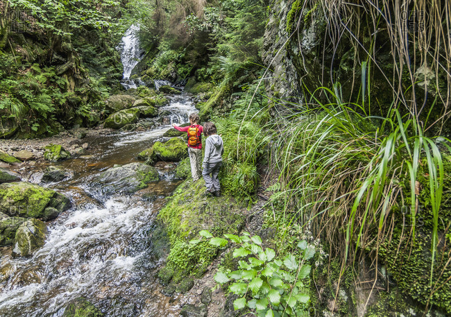 Rear view of girls hiking by flowing water