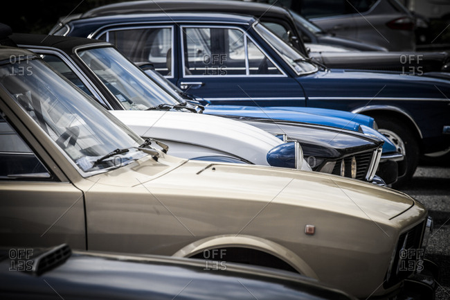 Provence, France - April 29, 2012: Series of vintage vehicles in the south of France