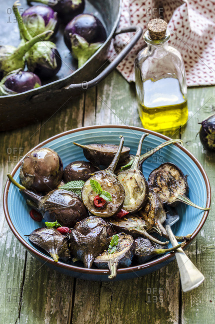 Roasted Eggplants in a blue bowl