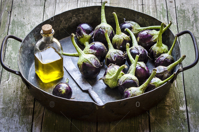 Roasted Eggplants in a pan