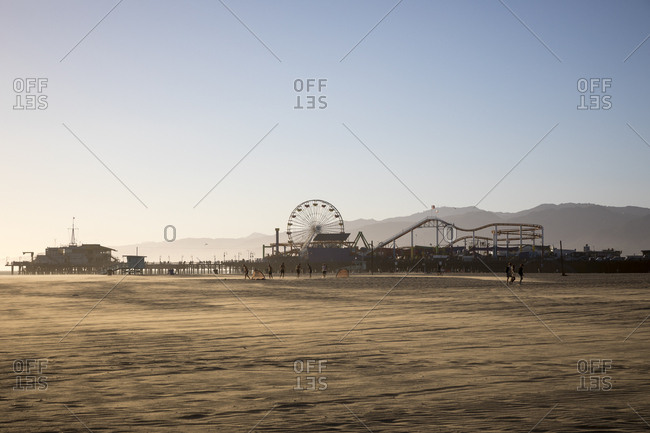 Santa Monica, California, USA - October 3, 2016: Amusement park with a Ferris wheel and rollercoasters in Santa Monica, California