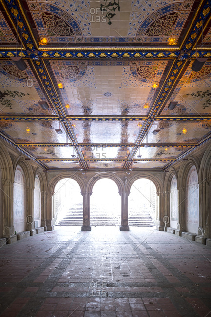 The Bethesda Terrace in winter in Central Park in New York City