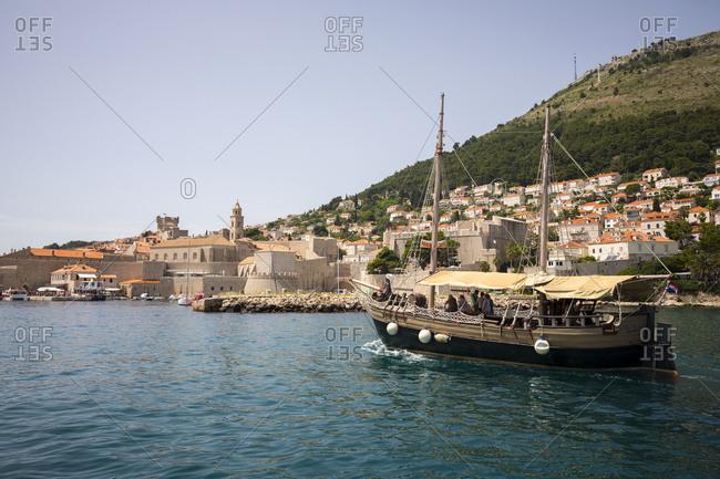 Dalmatian, Croatia - June 18, 2016: Boats in the harbor of old town Dubrovnik in Croatia