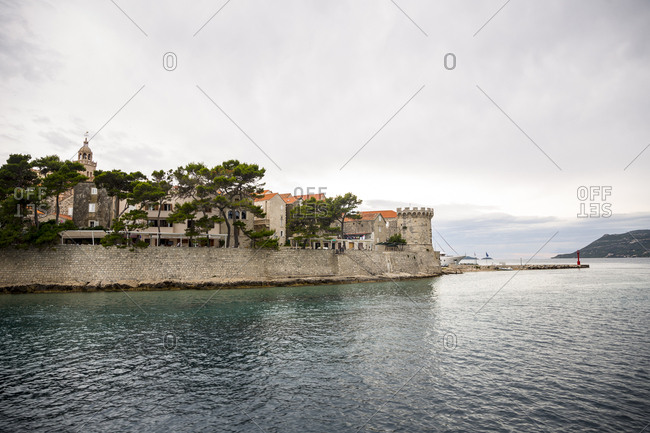 Dalmatian, Croatia - June 19, 2016: A view of the city and island of Korcula in Croatia