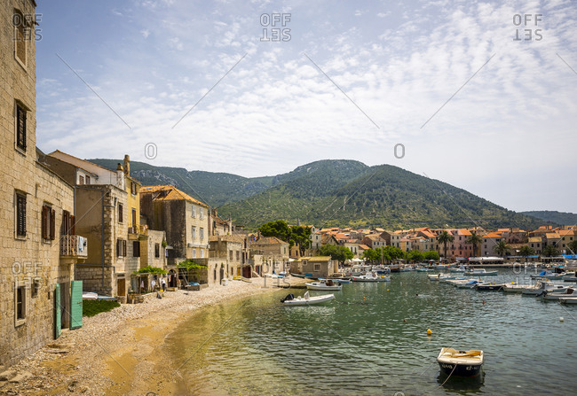 Dalmatian, Croatia - June 22, 2016: The town of Komiza on the island of Vis in Croatia