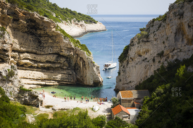 Dalmatian, Croatia - June 22, 2016: Beach on Vis island off the coast of Croatia
