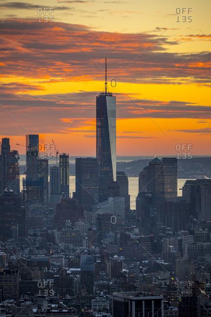 New York City, New York, USA - January 24, 2016: Views of Manhattan in winter in New York City, New York