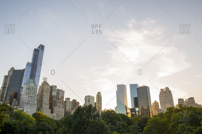 New York City, New York, USA - January 24, 2016: Views of Manhattan from Central Park in New York City, New York