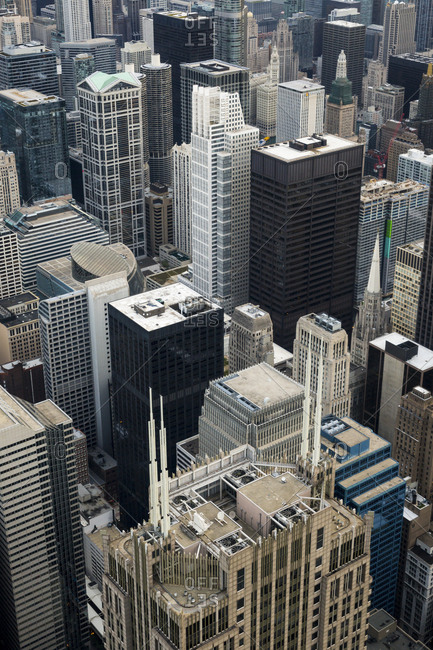 Chicago, Illinois - September 13, 2015: Looking out over downtown and the city of Chicago
