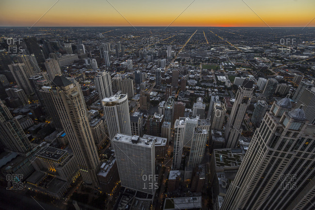 Looking out over downtown and the city of Chicago at dusk