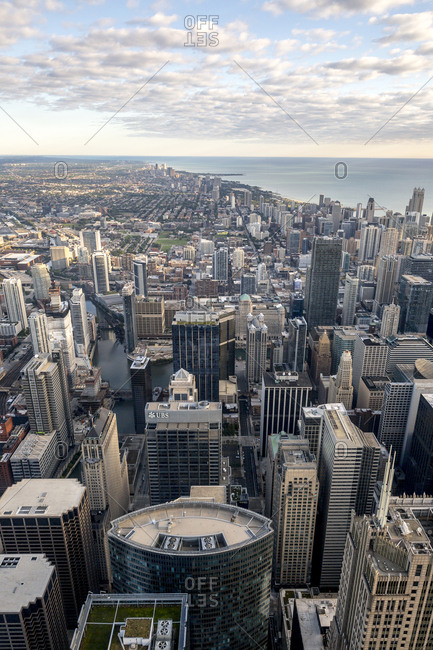Chicago, Illinois - September 13, 2015: Looking out over downtown and the city of Chicago and Lake Michigan