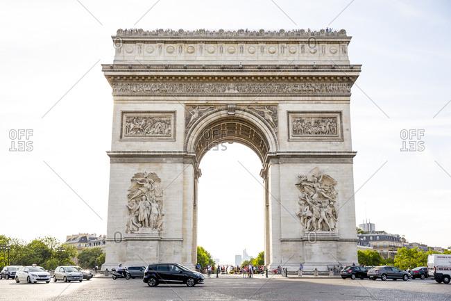 Paris, France - June 28, 2015: The arc du triomphe in Paris, France