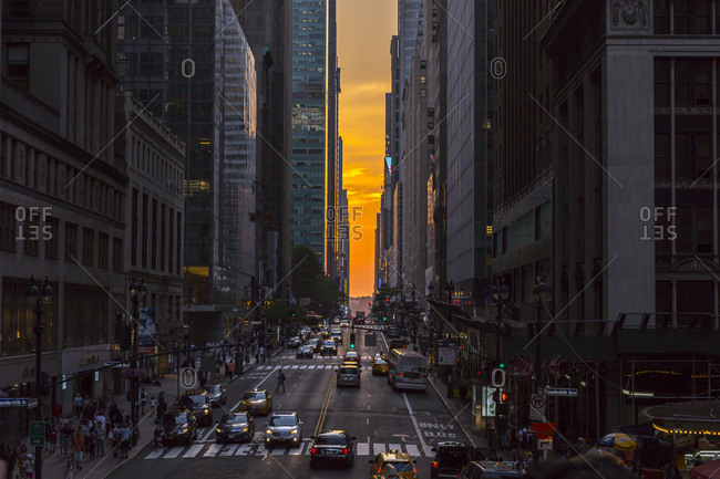New York City, New York, USA - July 12, 2015: Looking down a busy 42nd street in New York City, New York