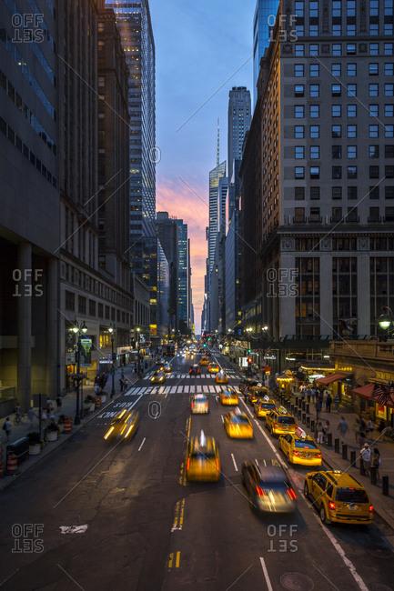 New York City, New York, USA - July 12, 2015: Busy traffic on 42nd street in New York City, New York