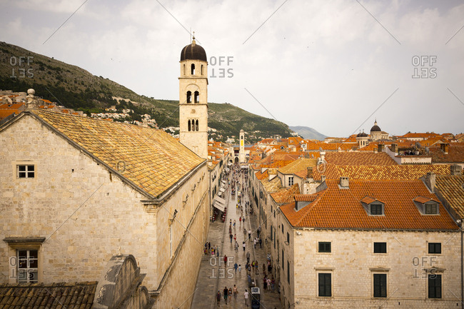 Dubrovnik, Dalmatian, Croatia - June 17, 2016: A view of old town Dubrovnik from above