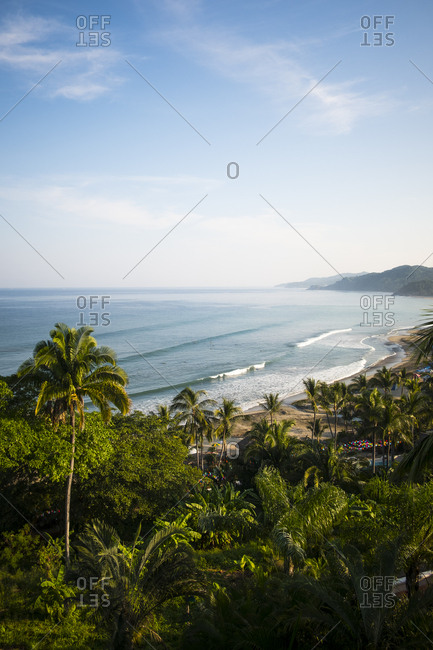 Views of the beach town of Sayulita from above in Mexico