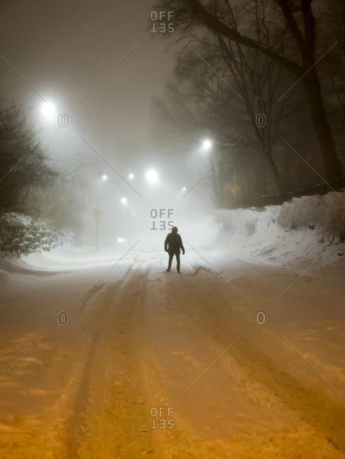 Views of Manhattan in winter during Blizzard Jonas in Manhattan, New York City, New York