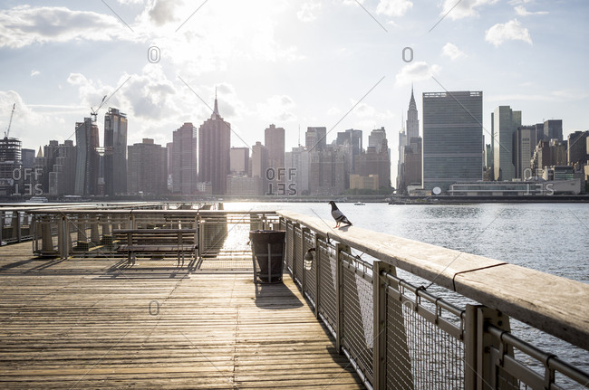 Looking out across the East River at Manhattan from Long Island City, in Queens