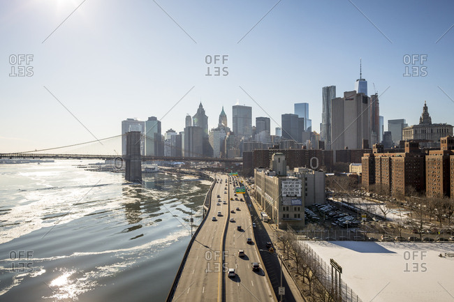 New York City, New York, USA - February 28, 2015: A view of the East side Highway from the Manhattan Bridge in New York City, New York
