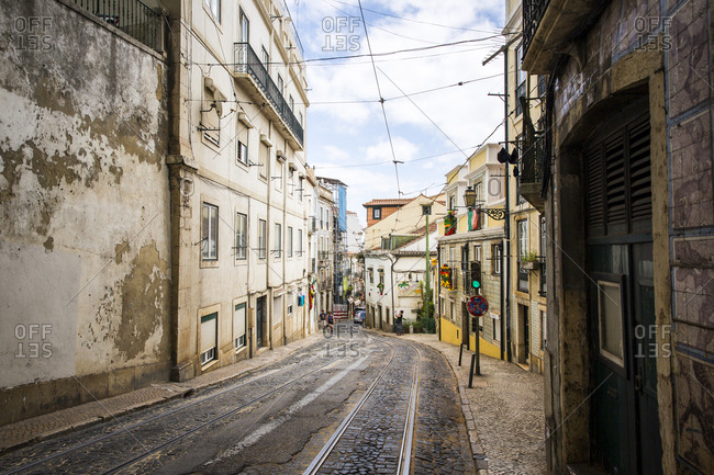 Lisbon, Portugal - June 23, 2015: City scenes from Alfama district, Lisbon, Portugal