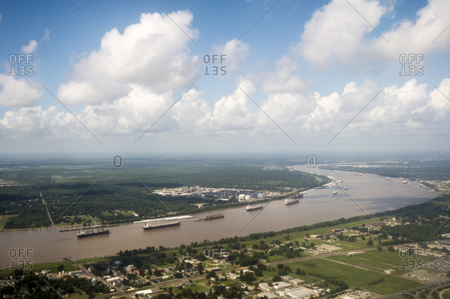 Aerial view of boats and ships in the Mississippi River in New Orleans, Louisiana