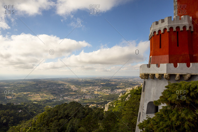 Views of the colorful walls and windows of the Pena National Palace in Sintra, Portugal