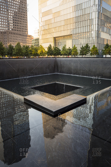 New York City, New York, USA - August 17, 2015: The memorial for 9/11 victims in New York City