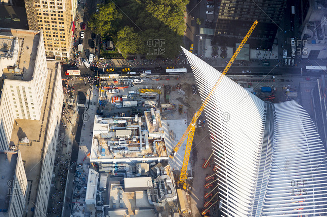 New York City, New York, USA - August 17, 2015: Aerial views of Construction on the World Trade Center Transportation Hub in Manhattan