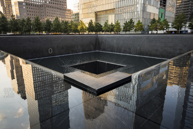 New York City, New York, USA - August 17, 2015: View of the memorial for 9/11 victims in New York City