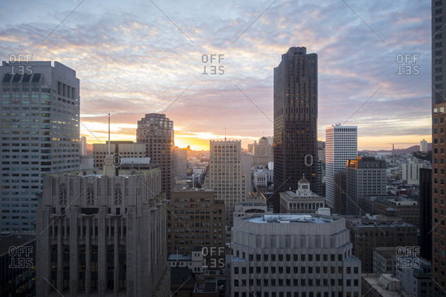 San Francisco, California, USA - November 5, 2015: Downtown San Francisco at sunset