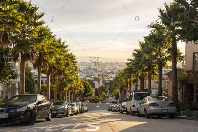 San Francisco, California, USA - November 5, 2015: The view of San Francisco at sunrise from the summit of Buena Vista Park