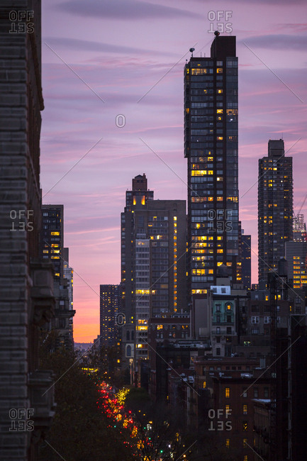 A glowing sunset in New York City
