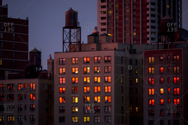 Sunset reflecting in windows, NYC