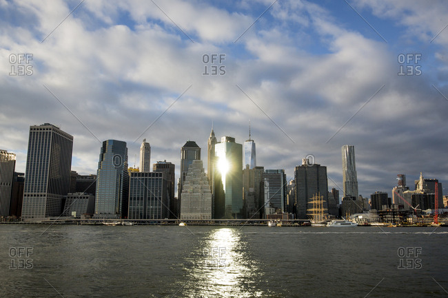 New York City - December 15, 2015: Financial district buildings in sunlight