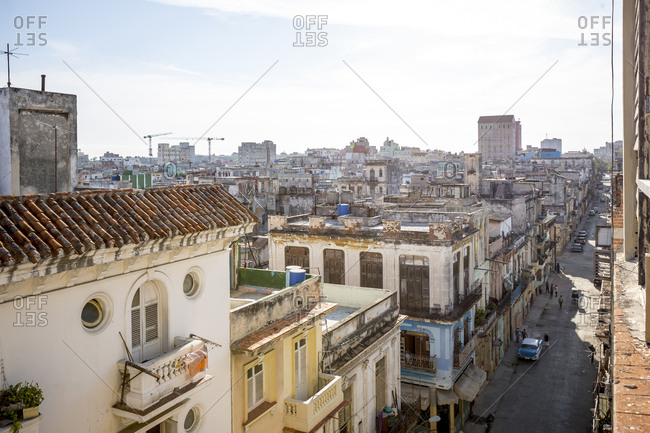 View over rooftops in Havana, Cuba