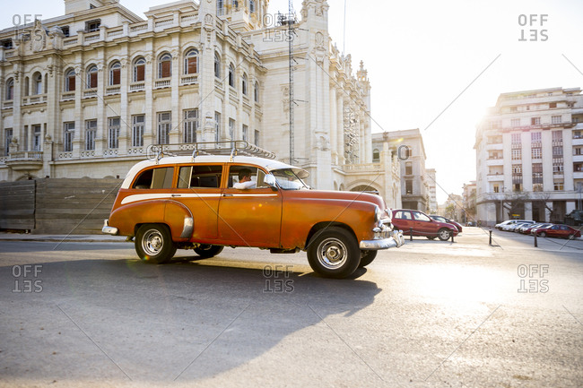 Havana, Cuba - April 30, 2016: Antique car driving in street