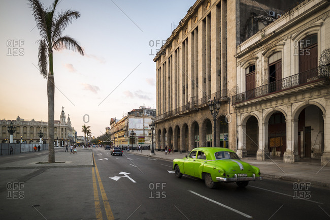 Havana, Cuba - May 1, 2016: Antique car driving through streets