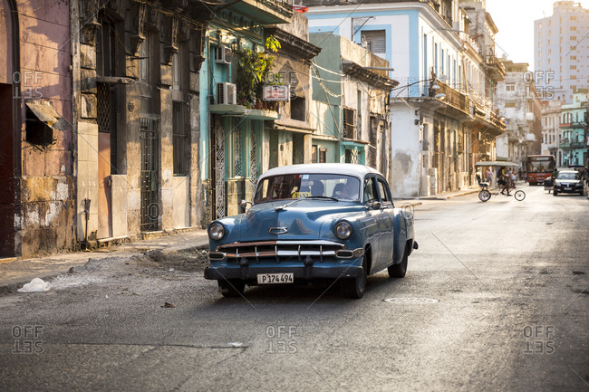 Havana, Cuba - May 2, 2016: A vintage car in a street