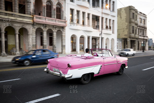 Havana, Cuba - May 2, 2016: Man driving vintage car