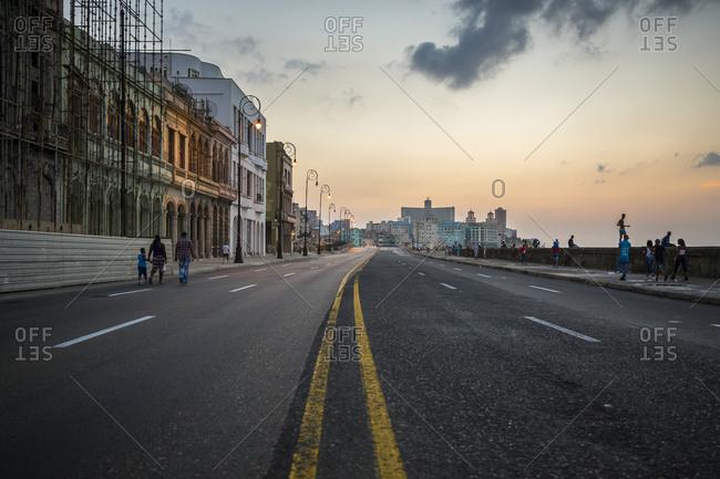 Havana, Cuba - May 2, 2016: The seafront road at dusk