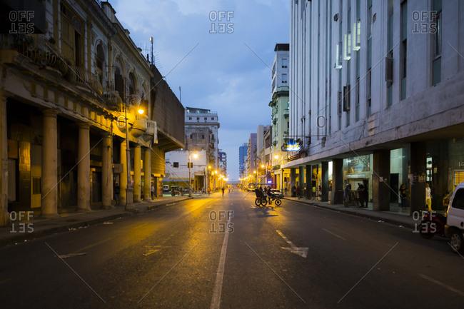 Havana, Cuba - May 2, 2016: A city street at night