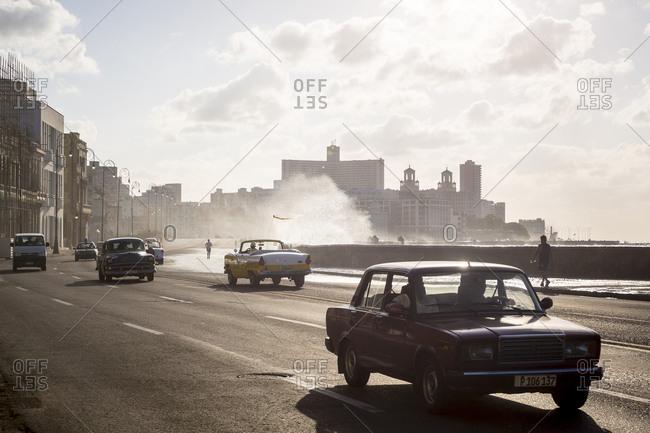 Havana, Cuba - May 5, 2016: Cars driving along seafront