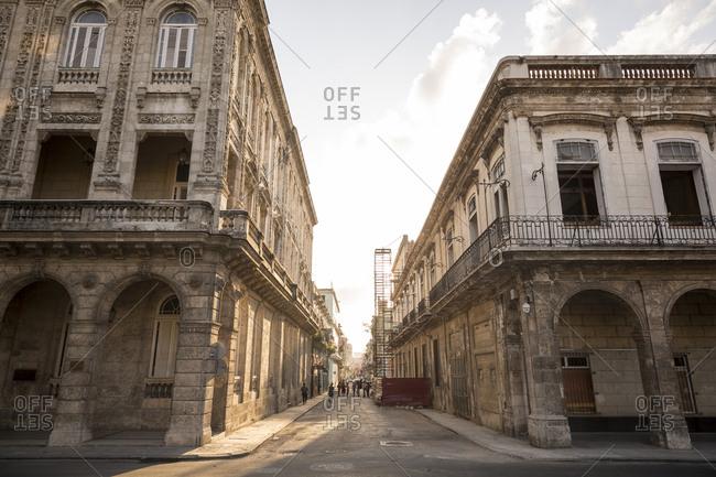 Havana, Cuba - May 8, 2016: Looking down a city street