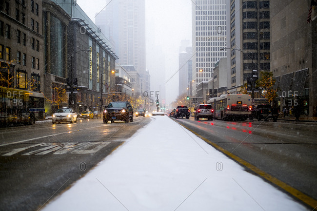 Chicago, Illinois - December 11, 2016: Snowy streets in downtown