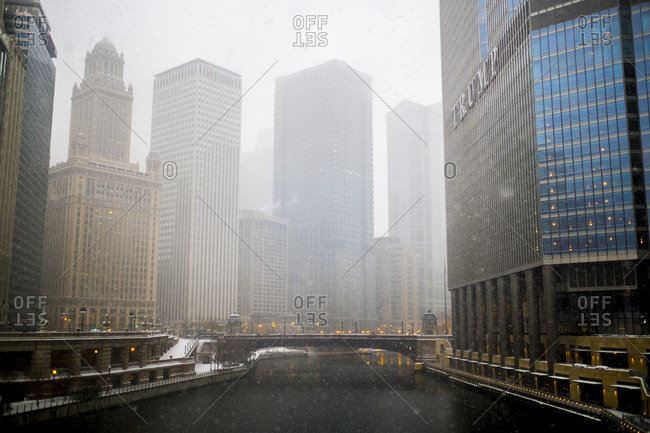 Chicago, Illinois - December 11, 2016: Views along the Chicago River