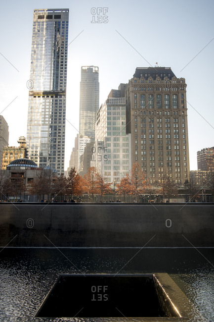 New York City - December 22, 2016: The water pools of the 9/11 memorial