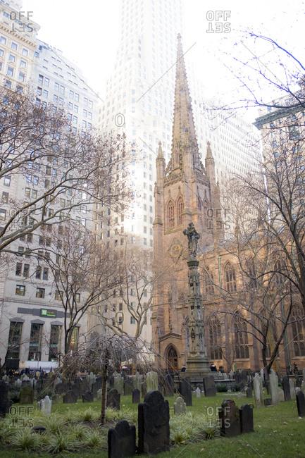 New York City - December 22, 2016: Trinity Church and cemetery